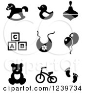 Clipart Of Black And White Baby Icons Royalty Free Vector Illustration by Vector Tradition SM