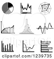 Clipart Of Black And White Graph Icons Royalty Free Vector Illustration by Vector Tradition SM