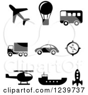 Clipart Of Black And White Transportation Icons Royalty Free Vector Illustration