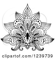Clipart Of A Black And White Henna Lotus Flower 10 Royalty Free Vector Illustration