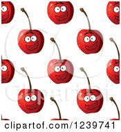 Clipart Of A Seamless Background Pattern Of Happy Cherries Royalty Free Vector Illustration