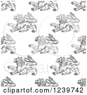 Seamless Background Pattern Of Black And White Heraldic Lions