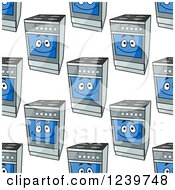 Clipart Of A Seamless Background Pattern Of Happy Ovens Royalty Free Vector Illustration by Vector Tradition SM