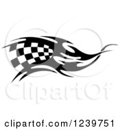 Clipart Of A Black And White Flaming Checkered Racing Flag 6 Royalty Free Vector Illustration