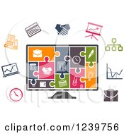 Clipart Of A Colorful Icon Jigsaw Puzzle On A Computer Screen And Other Office Icons Royalty Free Vector Illustration by Vector Tradition SM