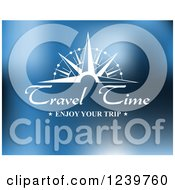 Clipart Of Travel Time Enjoy Your Trip Text On Blue Royalty Free Vector Illustration