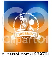 Clipart Of Palm Trees And Journey Text On Blue And Orange Royalty Free Vector Illustration by Vector Tradition SM
