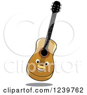 Clipart Of A Happy Cartoon Guitar Royalty Free Vector Illustration