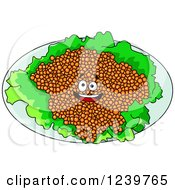 Clipart Of A Cartoon Happy Red Caviar Platter Royalty Free Vector Illustration