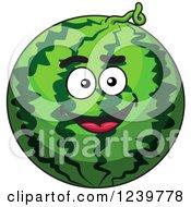 Clipart Of A Cartoon Happy Watermelon Royalty Free Vector Illustration