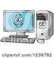 Clipart Of A Happy Desktop Computer Screen And Tower Royalty Free Vector Illustration