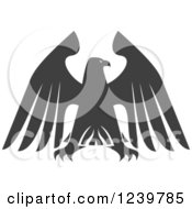 Clipart Of A Gray Eagle With Outstretched Wings 4 Royalty Free Vector Illustration