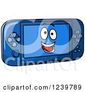 Clipart Of A Cartoon Happy Blue Handhelde Video Game Royalty Free Vector Illustration