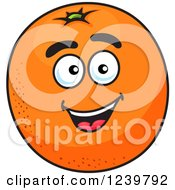 Clipart Of A Cartoon Happy Orange Royalty Free Vector Illustration