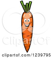 Clipart Of A Cartoon Happy Carrot Royalty Free Vector Illustration