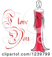 Clipart Of A Red I Love You Text With A Woman In A Red Dress 2 Royalty Free Vector Illustration