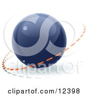 Clipart Illustration Of A Blue 3D Orb Sphere With A Ring Around It Internet Button