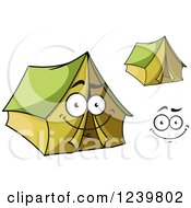 Clipart Of A Happy Cartoon Green Tent Royalty Free Vector Illustration