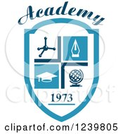 Clipart Of A Blue 1973 Academy Shield With Science And Education Icons Royalty Free Vector Illustration by Vector Tradition SM