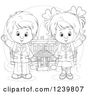 Clipart Of A Black And White School Boy And Girl Waving By A Building Royalty Free Vector Illustration
