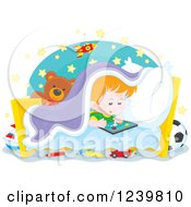 Clipart Of A Red Haired Boy Playing At Bed Time Royalty Free Vector Illustration by Alex Bannykh