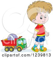 Clipart Of A Dirty Blond Caucasian Boy Playing With A Dump Truck Toy Royalty Free Vector Illustration by Alex Bannykh