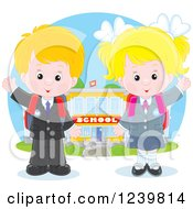Clipart Of A Blond School Boy And Girl Waving By A Building Royalty Free Vector Illustration