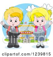 Clipart Of A Blond Caucasian School Boy And Girl Waving By A Building Royalty Free Vector Illustration