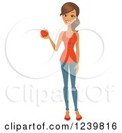 Clipart Of A Brunette Woman Holding A Red Apple Royalty Free Vector Illustration by Amanda Kate