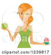 Clipart Of A Caucasian Woman Holding A Cupcake And Green Apple Royalty Free Vector Illustration by Amanda Kate
