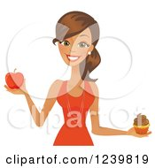 Clipart Of A Brunette Woman Holding A Cupcake And Red Apple Royalty Free Vector Illustration