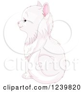 Clipart Of A Cute Long Haired White Cat Sitting In Profile Royalty Free Vector Illustration