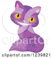 Clipart Of A Sitting Purple Striped Grinning Cheshire Cat Royalty Free Vector Illustration
