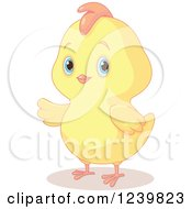Clipart Of A Cute Chubby Easter Chick Presenting Royalty Free Vector Illustration by Pushkin