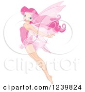 Clipart Of A Pink Fairy Flying With Her Legs And Arms Stretched Behind Royalty Free Vector Illustration