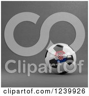 3d Croatian Soccer Ball Over Gray
