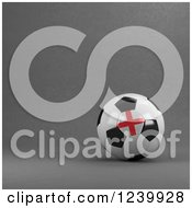 Clipart Of A 3d English Soccer Ball Over Gray Royalty Free Illustration by stockillustrations