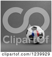 Clipart Of A 3d French Soccer Ball Over Gray Royalty Free Illustration
