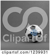 Clipart Of A 3d Greek Soccer Ball Over Gray Royalty Free Illustration