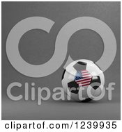Clipart Of A 3d American Soccer Ball Over Gray Royalty Free Illustration by stockillustrations