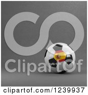 Clipart Of A 3d Spanish Soccer Ball Over Gray Royalty Free Illustration