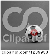 Clipart Of A 3d Swiss Soccer Ball Over Gray Royalty Free Illustration