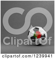 Clipart Of A 3d Portuguese Soccer Ball Over Gray Royalty Free Illustration