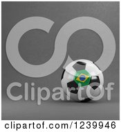 Clipart Of A 3d Brazilian Soccer Ball Over Gray Royalty Free Illustration
