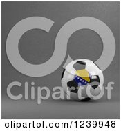 Clipart Of A 3d Bosnia Herzegovina Soccer Ball Over Gray Royalty Free Illustration