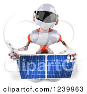 Clipart Of A 3d White And Orange Male Techno Robot Holding A Thumb Up And Solar Panel Royalty Free Illustration