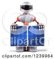 3d White And Orange Male Techno Robot Holding A Solar Panel