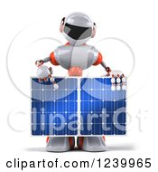Clipart Of A 3d White And Orange Male Techno Robot Pointing Down And Holding A Solar Panel Royalty Free Illustration