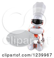 Clipart Of A 3d White And Orange Male Techno Robot Chef Holding A Plate 2 Royalty Free Illustration