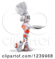 Clipart Of A 3d White And Orange Male Techno Robot Chef Holding A Plate 3 Royalty Free Illustration